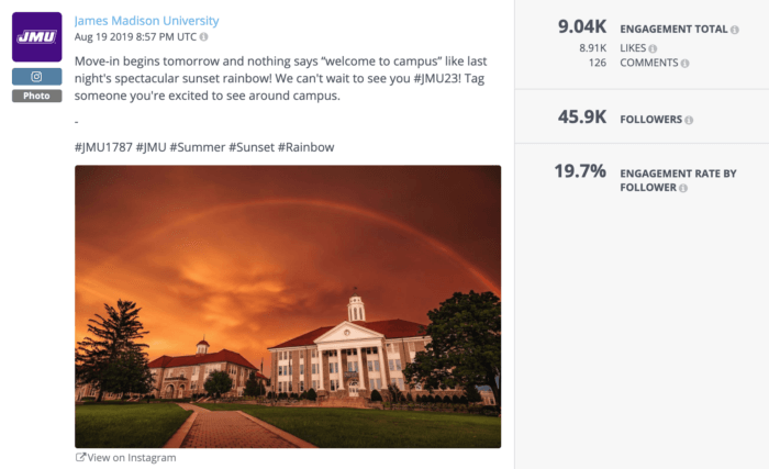 One of the top-performing higher education social media posts of the year was this orange rainbow over James Madison University's campus