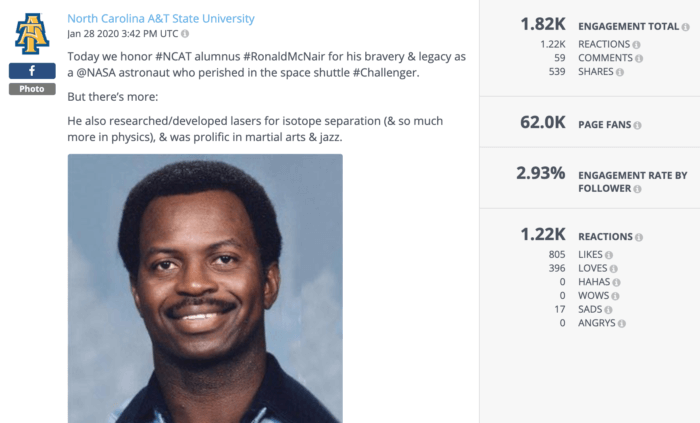 This Facebook post from NC A&T honoring astronaut Ronald McNair was some of the best higher education social media of the year.