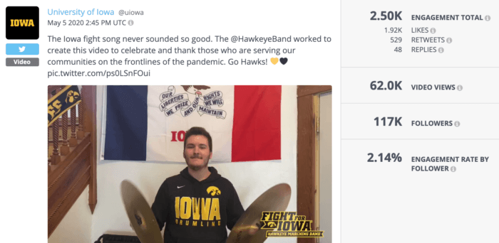 University of Iowa Twitter post with the U of I fight song is some of the best higher education social media of the year