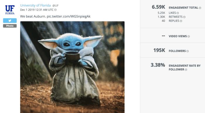 University of Florida used Baby Yoda to celebrate a major sports win.