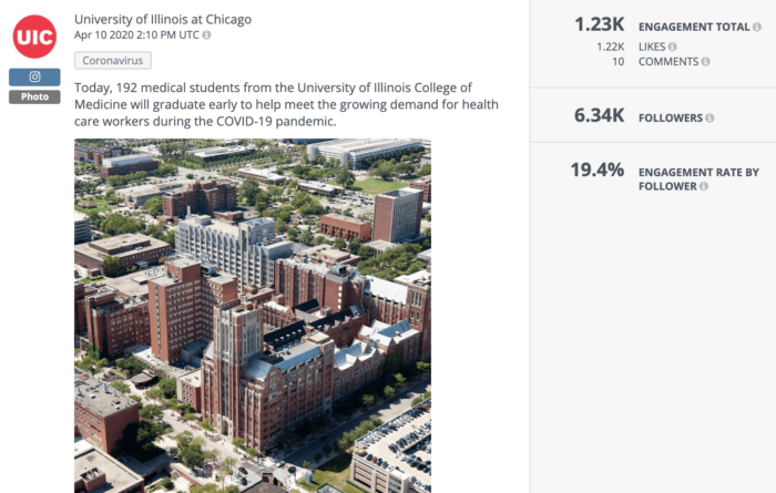 UIC announced on Instagram that they were graduating their med students early to help fight coronavirus