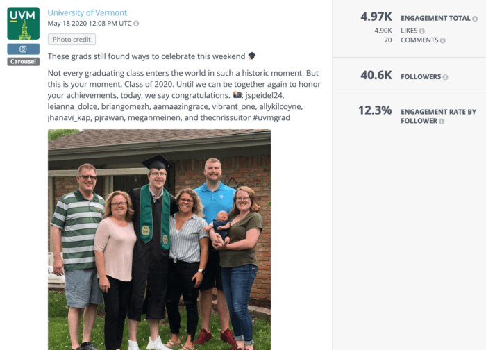 University of Vermont featured graduates celebrating with their families from home in a creative show of higher education social media
