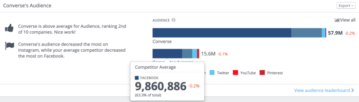 Converse's audience overview containing automated insights and a visualization of their audience against their much smaller competitor average