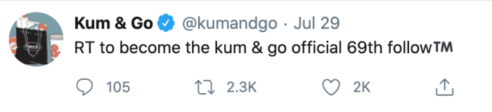 Humorous tweet from Kum and Go encouraging follows is some of the best convenience store marketing of the year