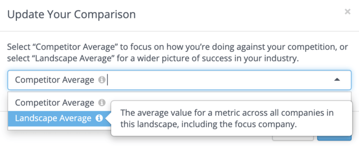 You can now select between a competitor average and landscape average in Rival IQ