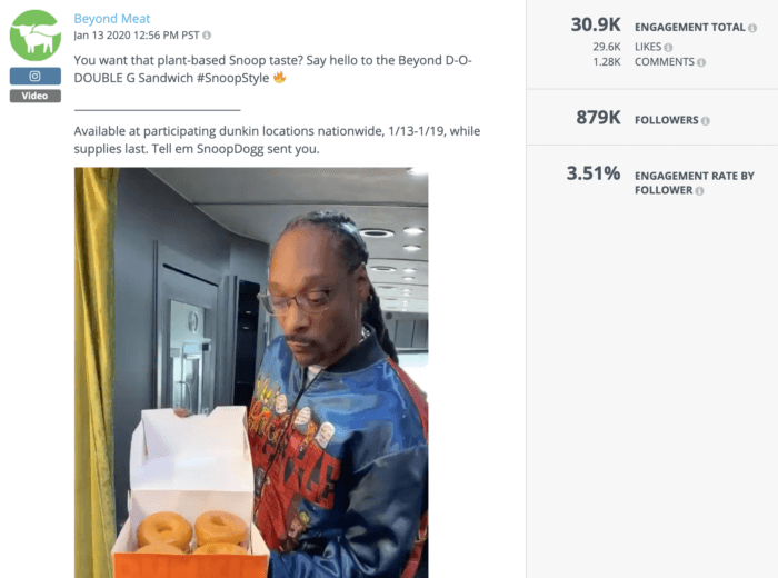 Snoop Dogg holding a box of Dunkin' Donuts