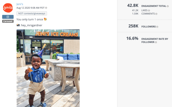 Instagram post from Jeni's featuring a little boy eating ice cream in a birthday hat