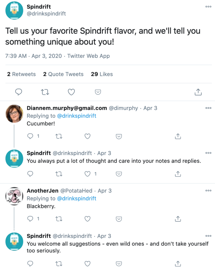 Tweet from Spindrift asking followers to post their favorite flavor in exchange for a unique comment