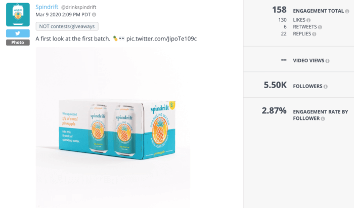 Tweet featuring a box of Spindrift pineapple was a top-performing health food social media tweet