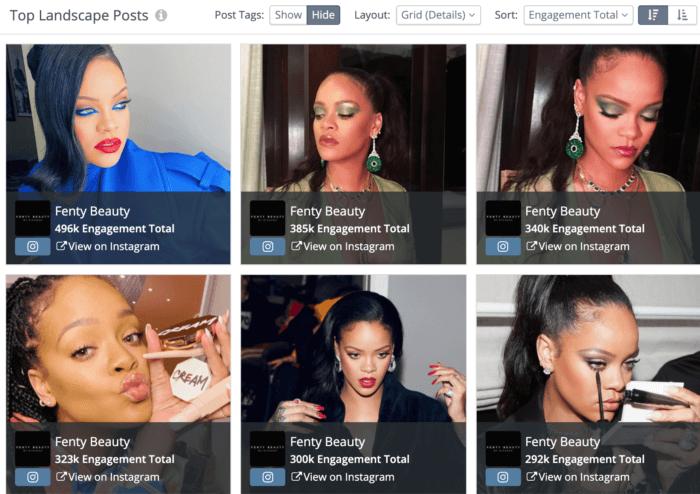 Top 6 Instagram posts for Fenty Beauty