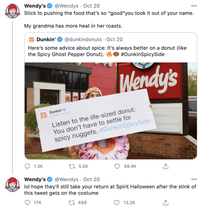 Wendy's social media strategy often features roasts like this tweet making fun of Dunkin' Donuts