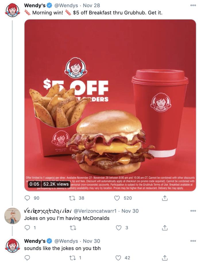 Twitter roast from Wendy's social media roasting McDonalds