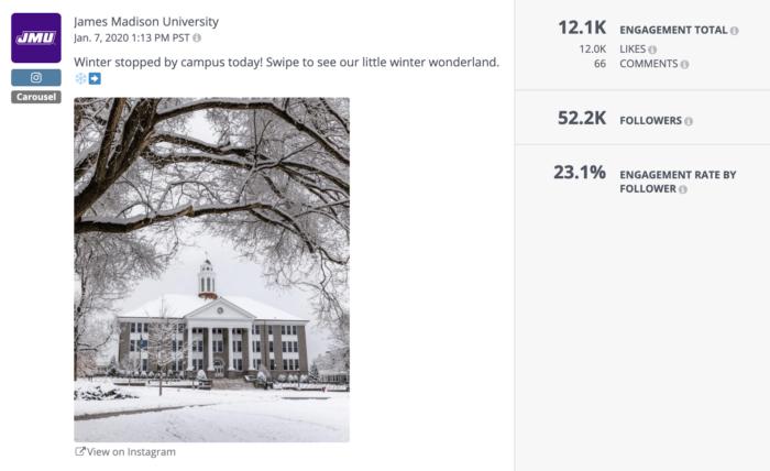 James Madison University's really engaging Instagram carousel post