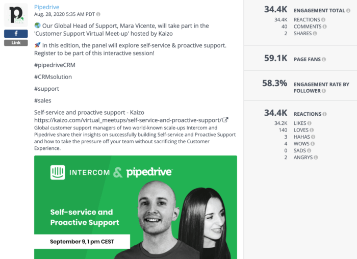 Facebook post from Pipedrive featuring a virtual meet-up link