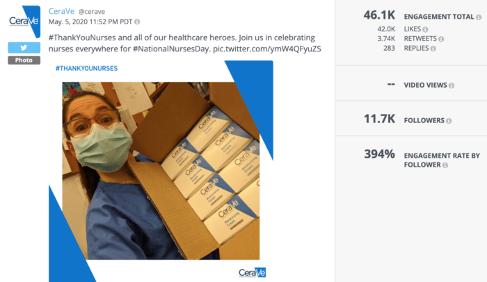 Photo tweet from CeraVe featuring a nurse with a box of CeraVe products was really successful beauty social media this year