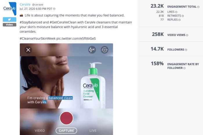 Video tweet from CeraVe featuring a woman and the brand's hydrating facial cleanser