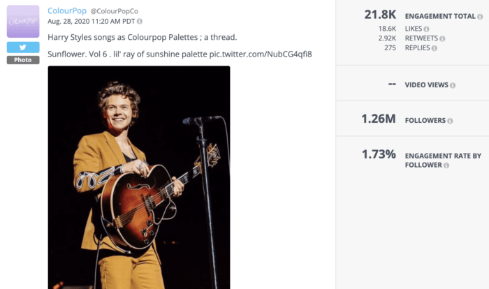 This tweet from ColourPop featuring products resembling Harry Styles is an example of great beauty social media