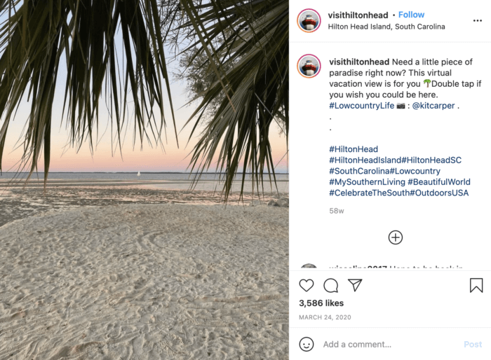 This beautiful sandy beach at sunset on Hilton Head is a great example of strong travel social media