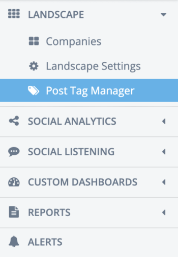 Side nav in Rival IQ featuring companies, landscape settings, the post tag manager, and more