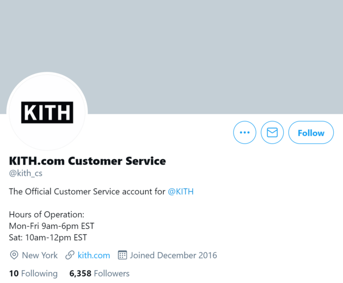 Kith.com separate customer service Twitter account