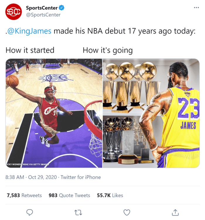 """A Tweet from SportsCenter that features images of LeBron James for the """"how it started, how it's going"""" Twitter trend"""