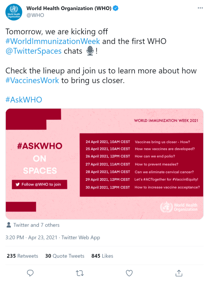 Tweet from World Health Organization promoting a Q&A about vaccines hosted through Twitter Spaces