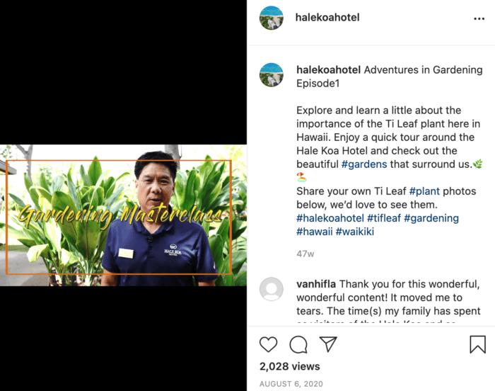 IGTV post from Hale Koa hotel featuring a gardening masterclass