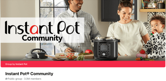 The Instant Pot Community Facebook Group header shows that the Group has 3 million members