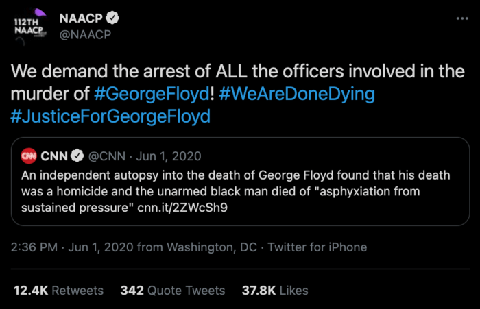 Tweet from the NAACP demanding the arrest of the white police officers who murdered George Floyd