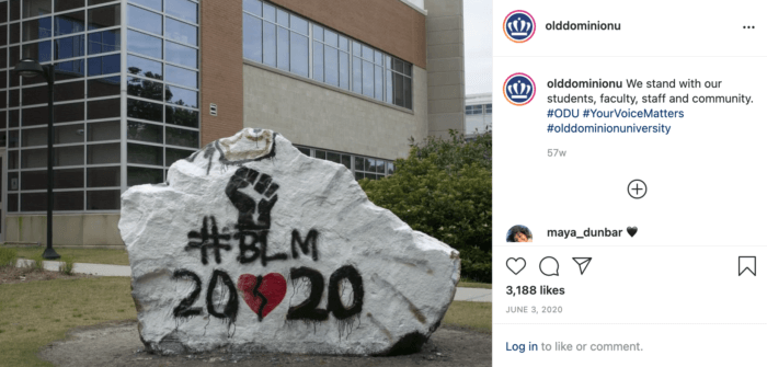 Instagram post from ODU featuring #BLM, a raised first, and 2020 in solidarity