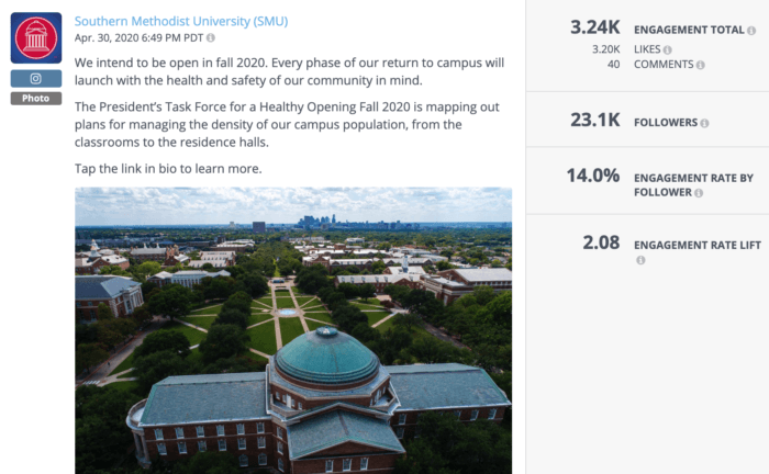 Instagram post from SMU featuring a campus glamour shot and updated information about COVID reopening