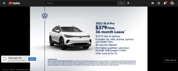 Volkswagen YouTube Ad
