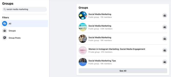 """Screenshot of Facebook Group search results for the phrase """"social media marketing"""""""