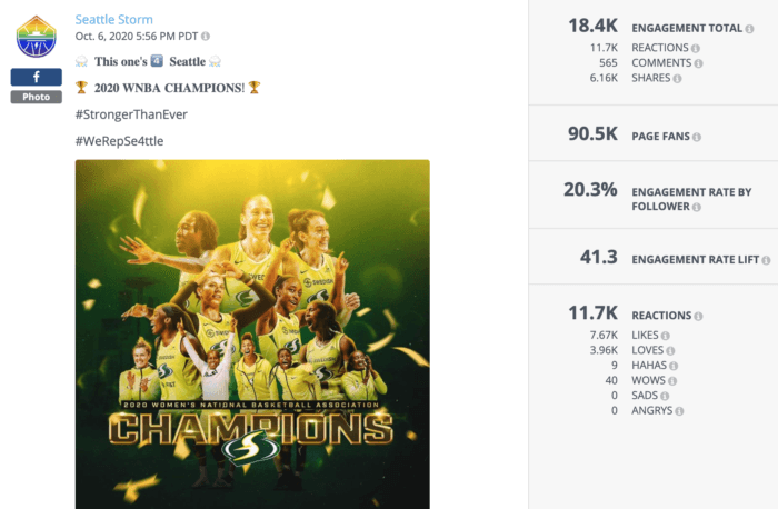 Facebook post from Seattle Storm announcing their WNBA win