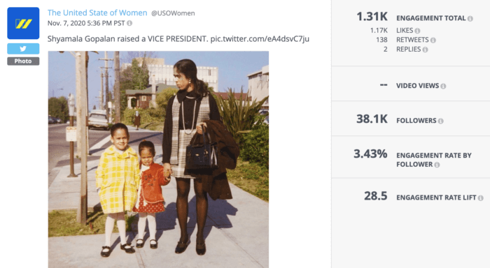 Tweet from USOW featuring young Kamala Harris, her sister, and her mother