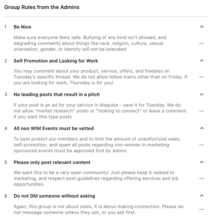 A Facebook Group called Women in Marketing outline the rules members must follow