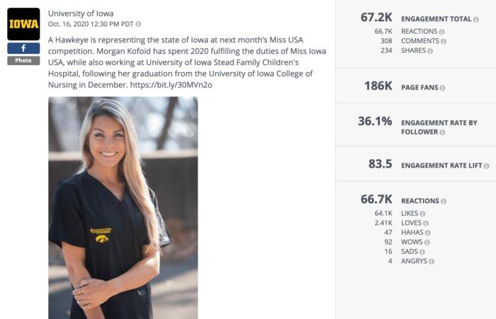 Instagram post featuring University of Iowa grad Morgan Kofold posing in U of I scrubs