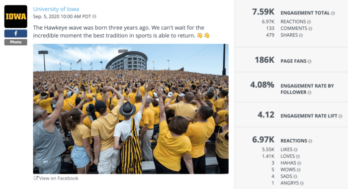 U of Iowa football fans turning to do the Hawkeye wave is an example of excellent higher education social media