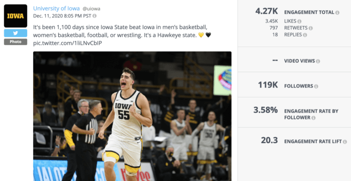 A member of the U of Iowa's men's basketball team pumps his fist in fictory