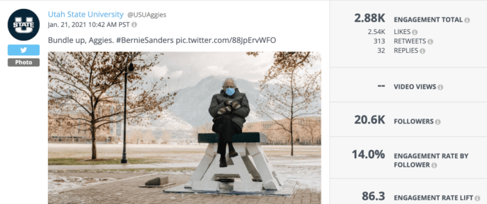 Bernie Sanders in mittens photoshopped into the Utah State quad is an example of high-engagement higher education social media