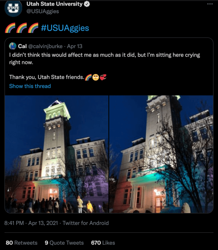 Utah State's campus lit up in rainbow lights for Pride is an example of effective higher education social media