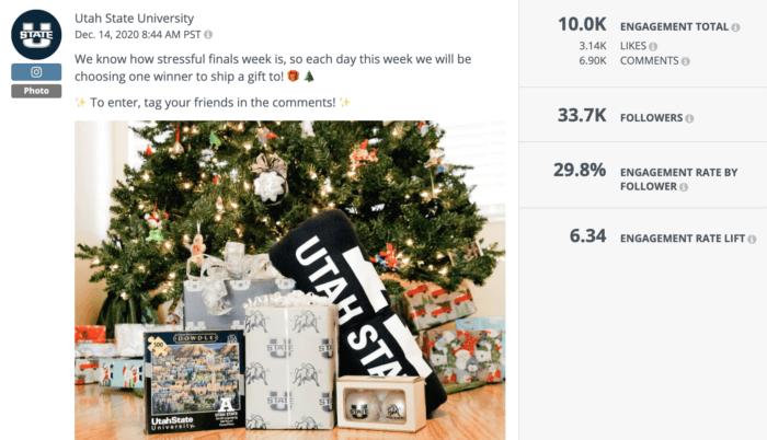 Instagram giveaway post featuring a grab bag of Utah State University swag