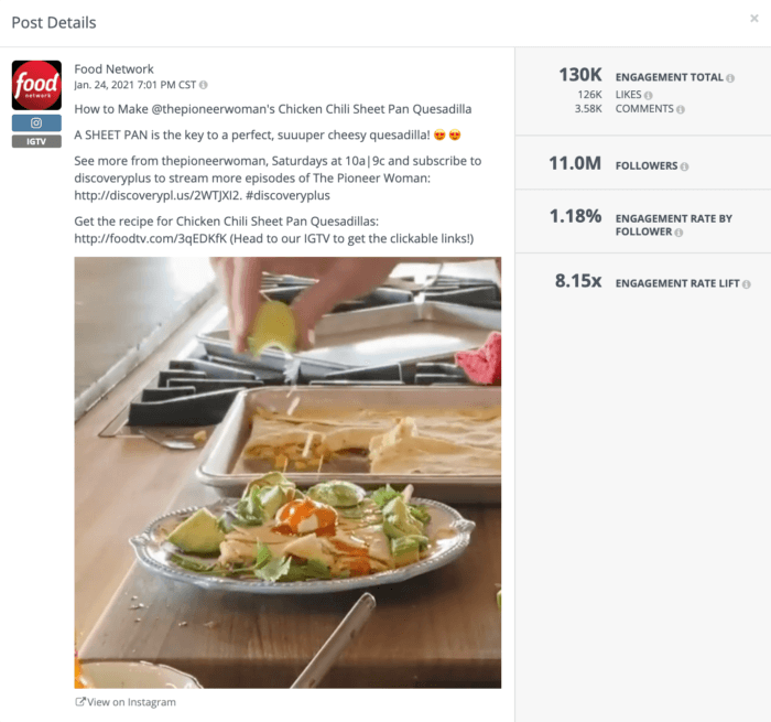Food Network's IGTV marketing strategy is to repurpose popular content from their TV shows.