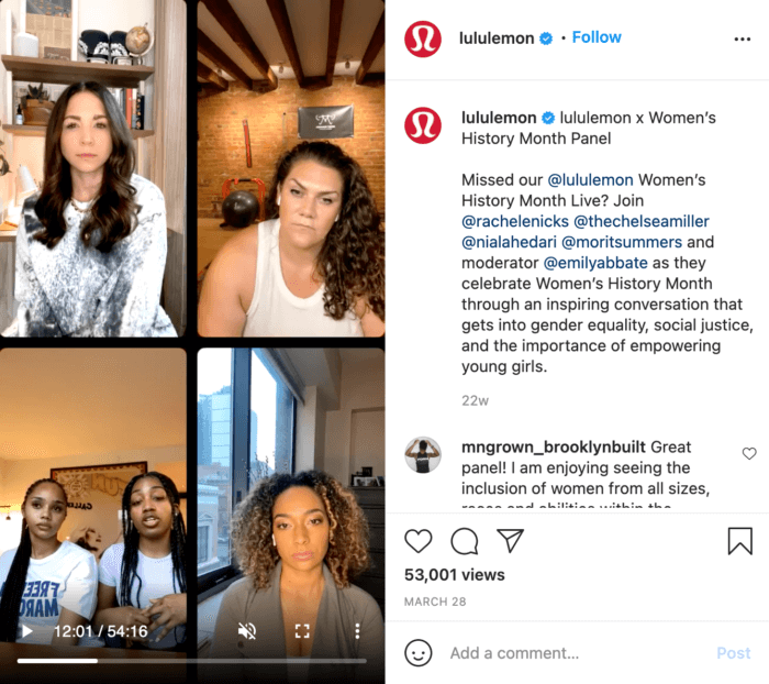 Lululemon uses IGTV marketing by turning their Instagram Live into an IGTV post for the feed.