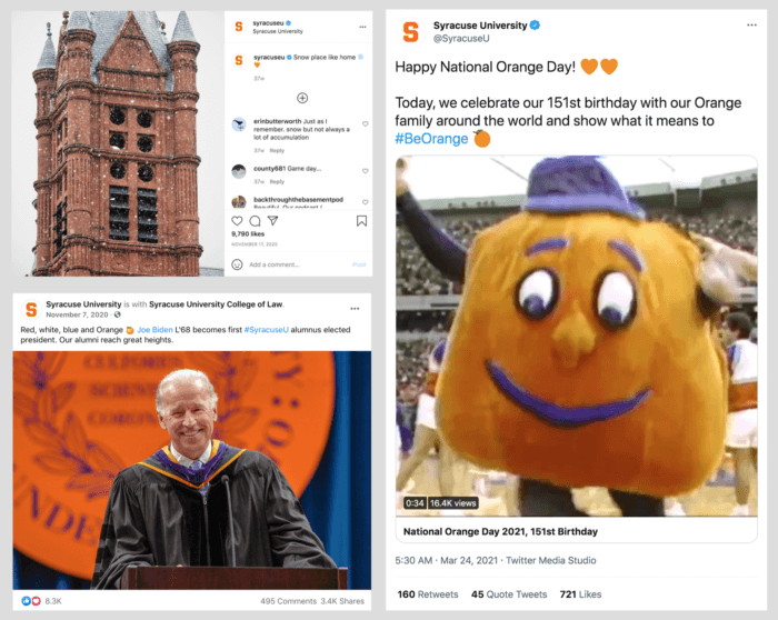 Three top posts from Syracuse University - one featuring alum President Biden