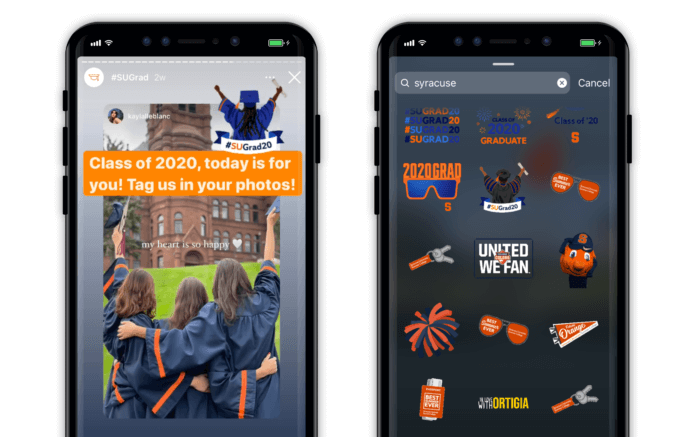 Snapshot of Instagram Stickers created by Syracuse University
